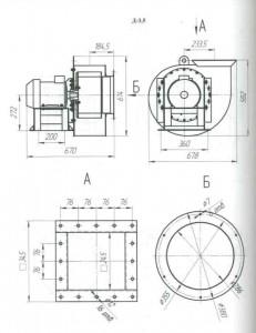 дымосос Д 3,5 м (вентилятор ВД 3,5 м) эскиз
