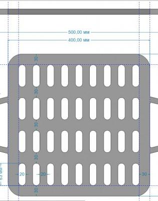 решетка гриль чугунная 400/400 мм ( для мангала и др.)