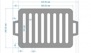 решетка гриль чугунная 360/260 мм ( для мангала и др.)